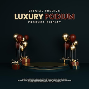 Special premium luxury podium with balloon and gift box