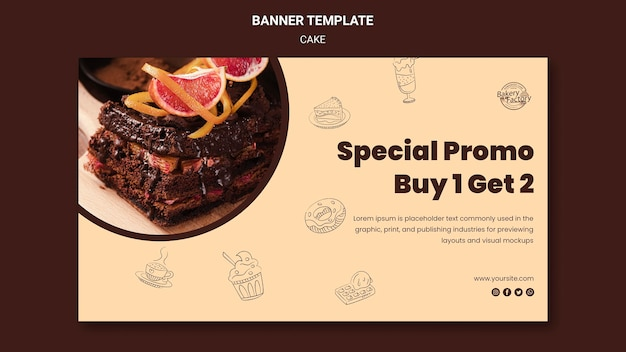 Modello di banner promozionale torta speciale