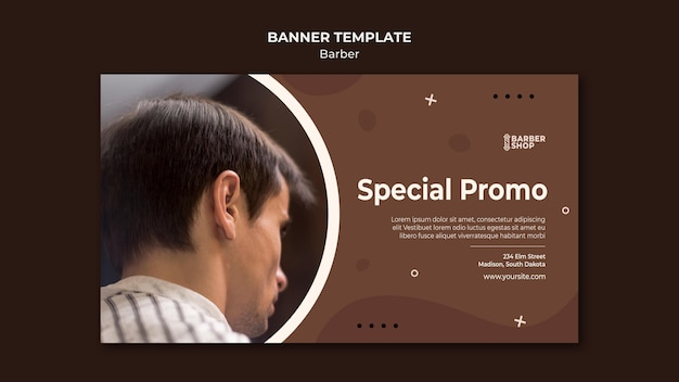 Cliente promozionale speciale presso il banner del negozio di barbiere