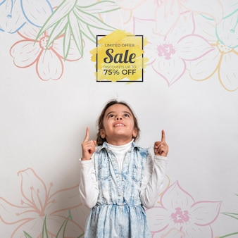 Special sale offers cute young girl