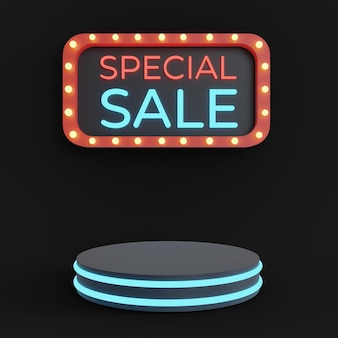 Special sale podium for your product with neon lamp text