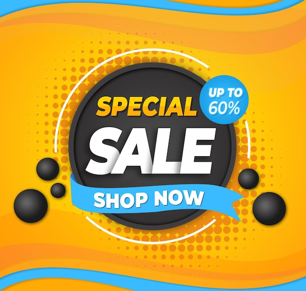 Special sale with orange blue background