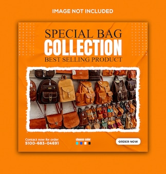 Special school bag product sale social media and instagram post template