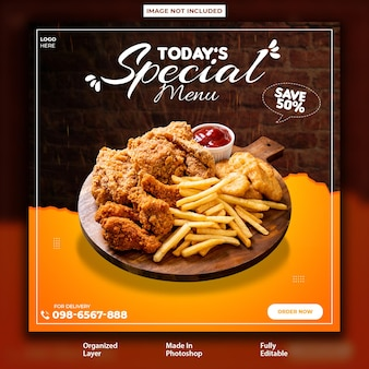 Special spicy bbq food post design template
