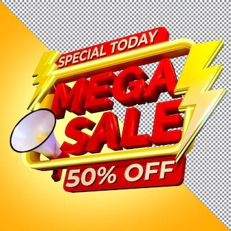 Special today mega sale promotion 3d rendering