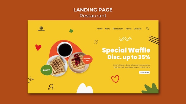 Special waffle landing page template Free Psd