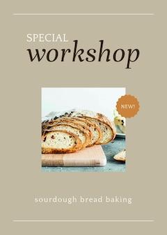 Modello di poster psd per workshop speciali per il marketing di prodotti da forno e caffè