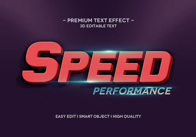 Speed performance text effect style template