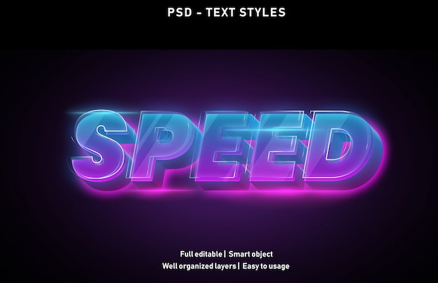 Speed text effects style editable psd
