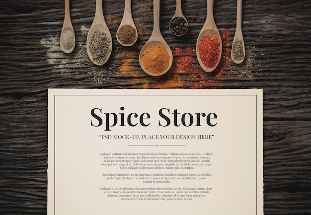 Spice & herbs with paper mockup template