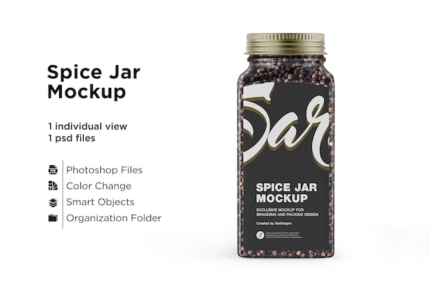 Spice jar with black pepper mockup isolated