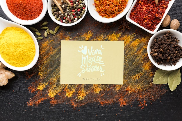 Spices and herbs mock-up with viva mexico card top view
