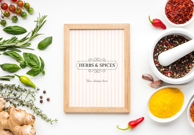 Spices and herbs mock-up and wooden frame