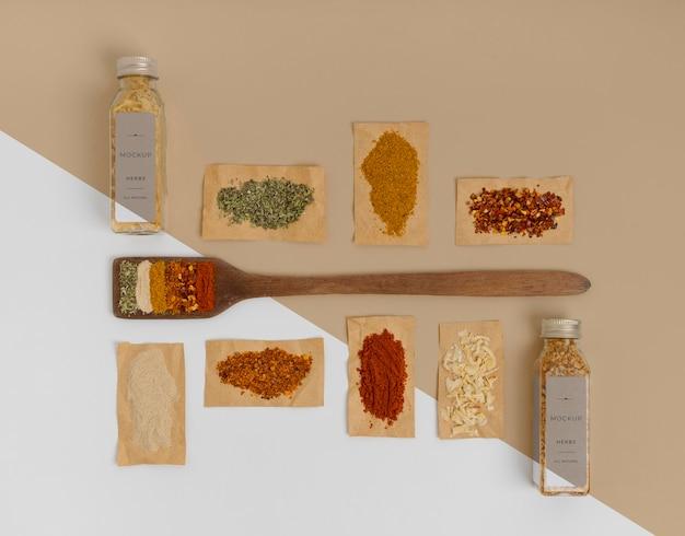 Spices with label mock-up arrangement