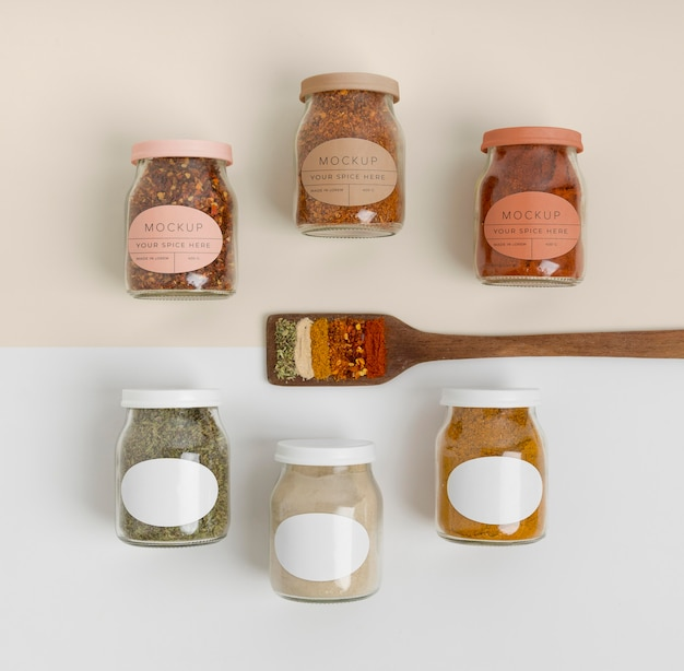 Spices with label mock-up assortment