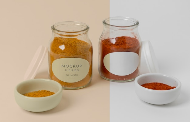 Spices with label mock-up composition