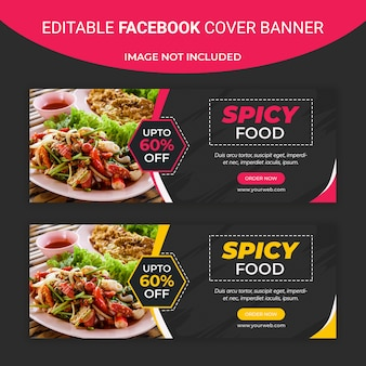 Шаблон баннера в социальных сетях spicy food facebook