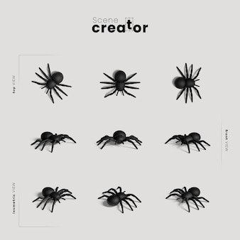 Spider variety of angles halloween scene creator