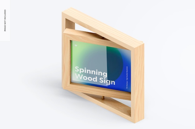 Spinning wood frame sign mockup, isometric left view