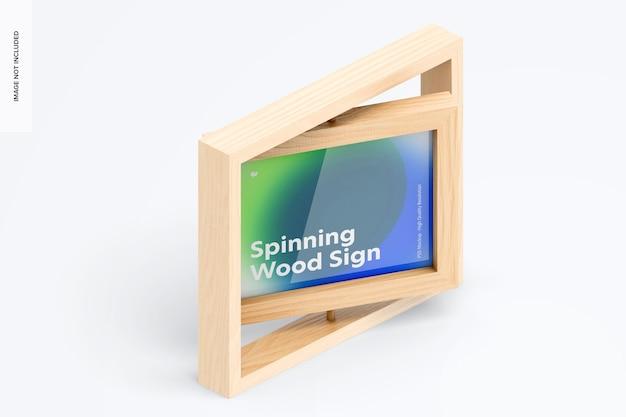 Mockup di cartello con cornice in legno rotante, vista isometrica a destra