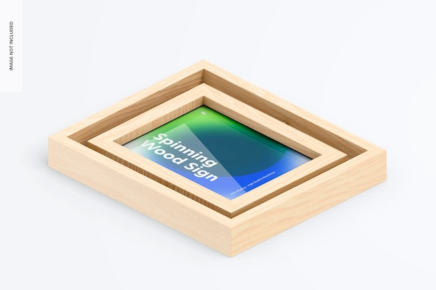Spinning wood frame sign mockup, isometric top view