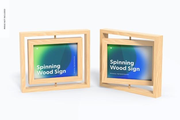 Spinning wood frame signs mockup