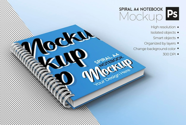 Spiral a4 notebook mockup isometric view