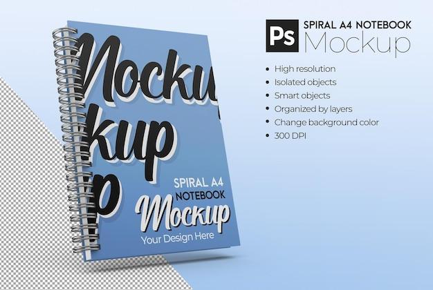スパイラルa4ノートブックモックアップ