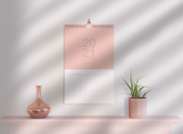 Spiral calendar mockup hanging on wall