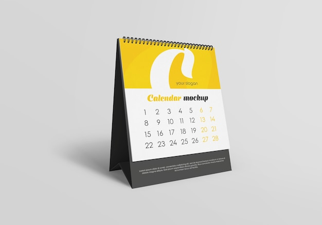 Spiral desk calendar mockup isolated
