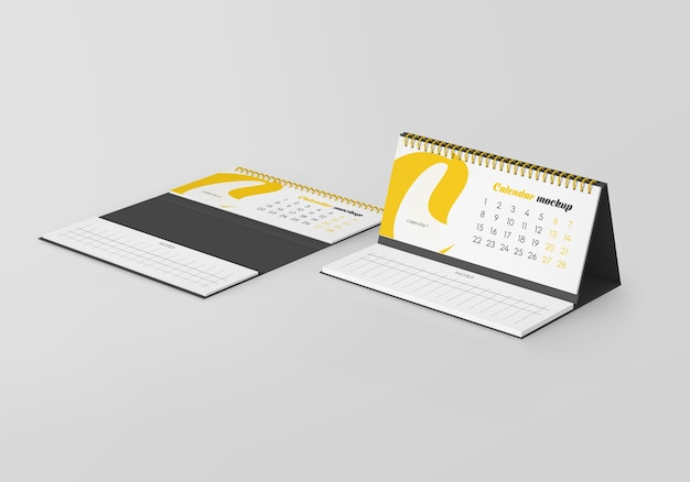Spiral desk calendar with notes mockup isolated
