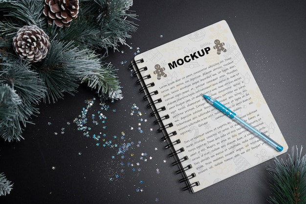 Spiral notebook mockup for christmas