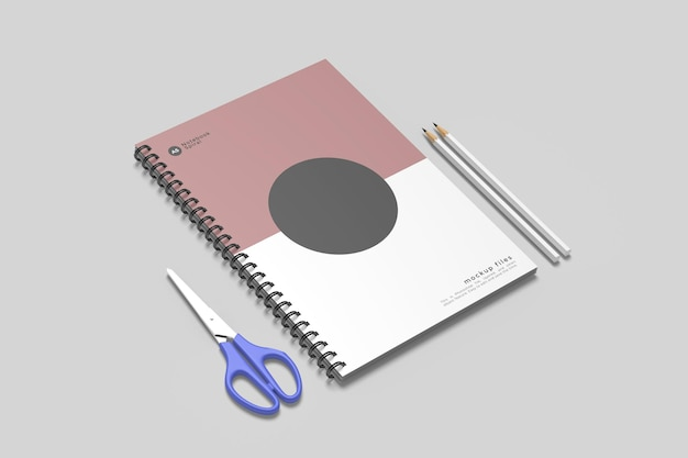 Spiral notebook mockup design isolated