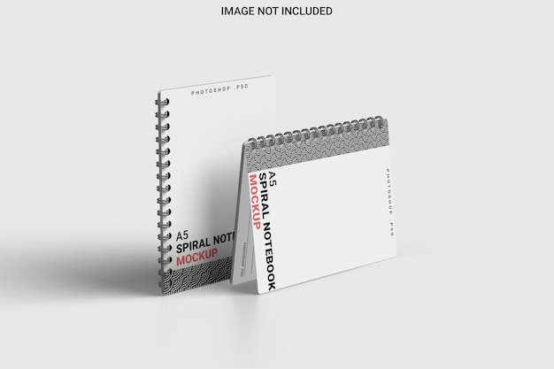 Spiral notebook mockup left view isolated