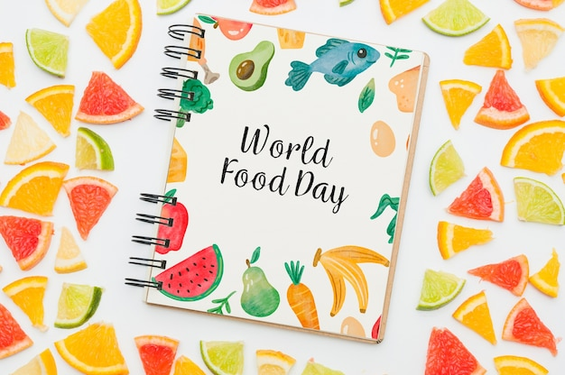 Spiral notebook mockup with fruits