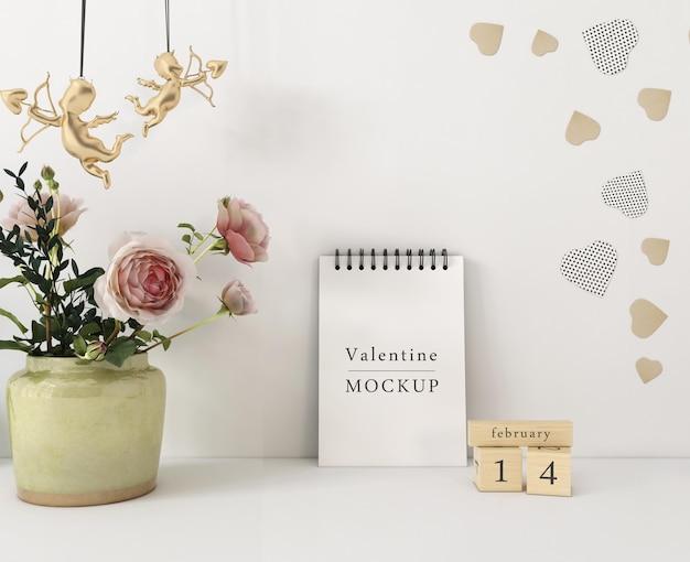 발렌타인 개념으로 나선형 노트북 이랑