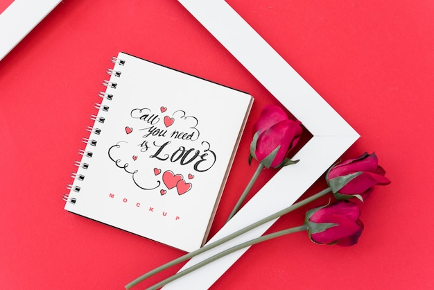 Spiral notebook mockup with valentine concept