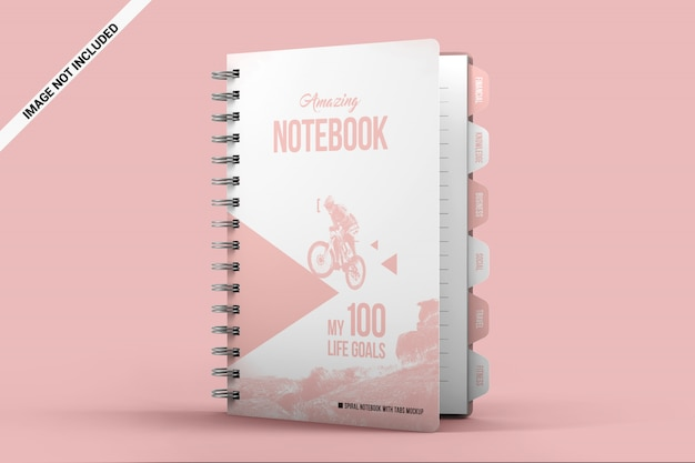 Spiral notebook with tabs standing on the surface mockup