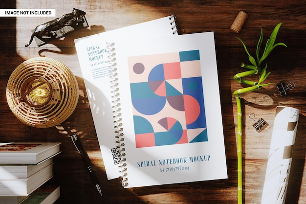 Spiral notebooks on the workplace mockup