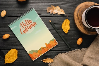 Spiral notepad mockup with halloween concept