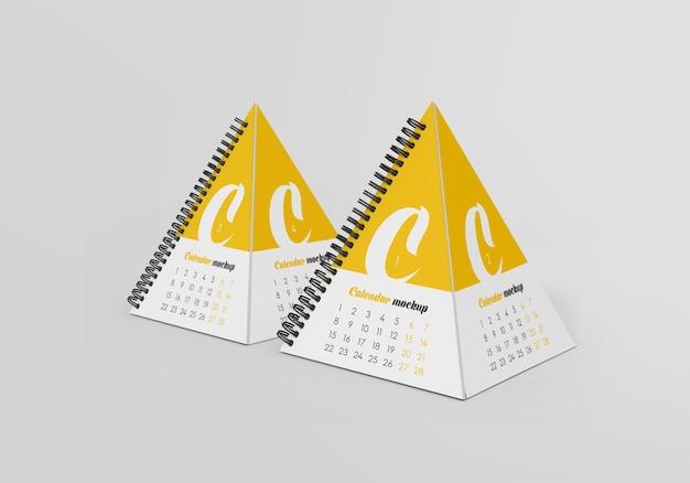 Spiral pyramid desk calendar mockup