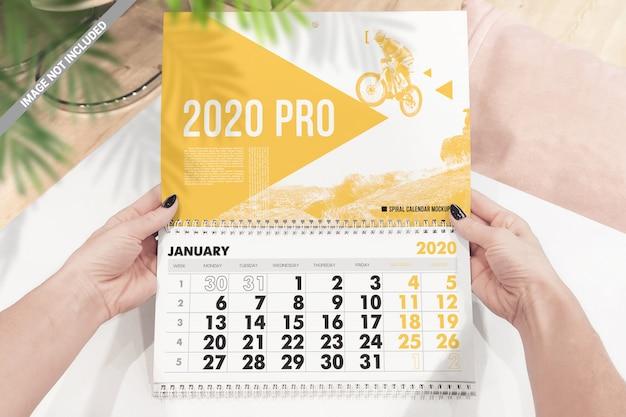 Spiral wall calendar mockup