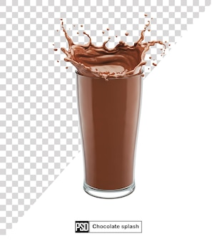 Splash of chocolate milk in the glass isolated