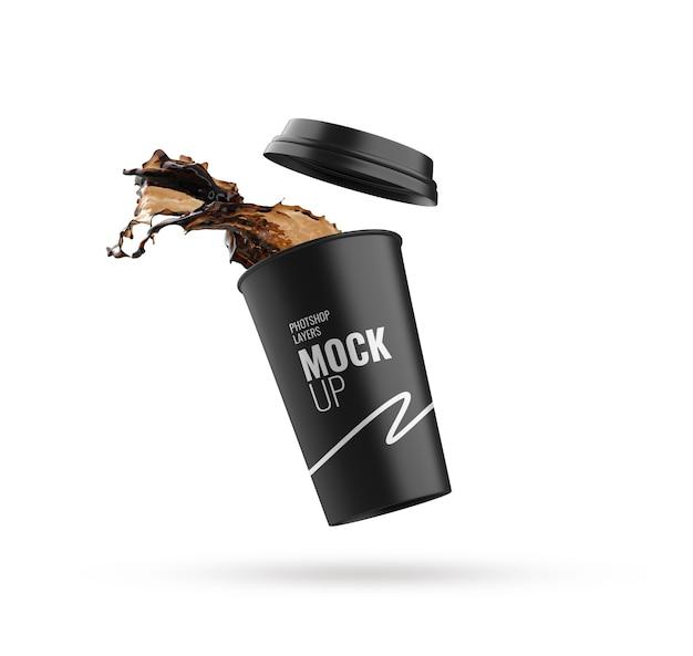 Splash cup mockup 3d rendering realistic