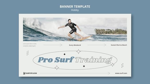 Modello di banner splash e surf