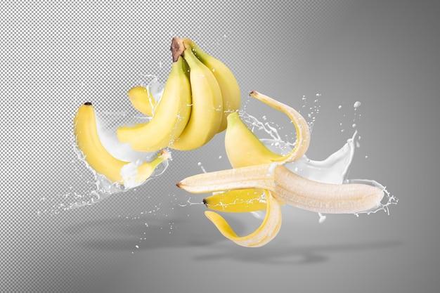 알파 배경에 고립 된 바나나 과일에 튀는 우유