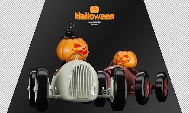 Жуткий и милый персонаж куклы-тыквы на хэллоуин на игрушечной винтажной гоночной машине