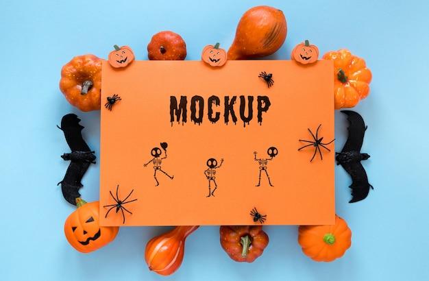 Spooky arrangement with bats and pumpkins