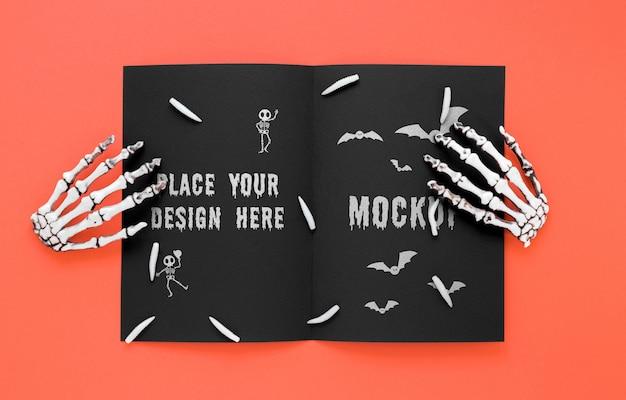 Spooky arrangement with skeleton hands