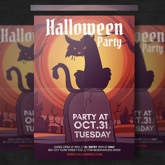 Spooky halloween flyer template